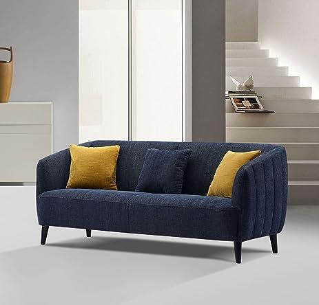 Amazon.com: Diamond Sofa DeLuca Midnight Blue Fabric Sofa ...