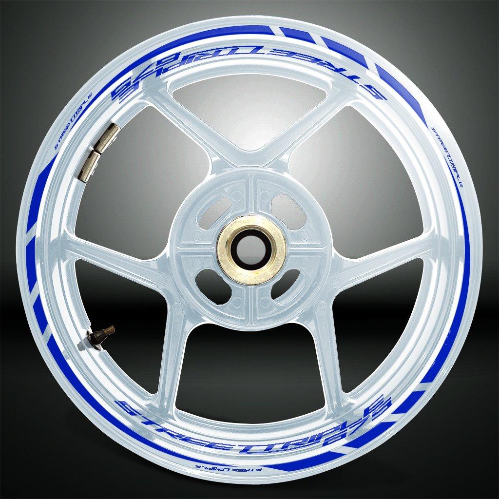 Bianco Lucido Ruote Moto Cerchione Decalcomanie Accessorio Adesivi per Triumph Street Triple 675