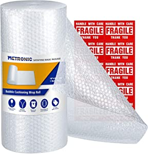 Metronic Bubble Cushioning Wrap Roll 12x26 FT Bubble Roll- Perforated 12×12
