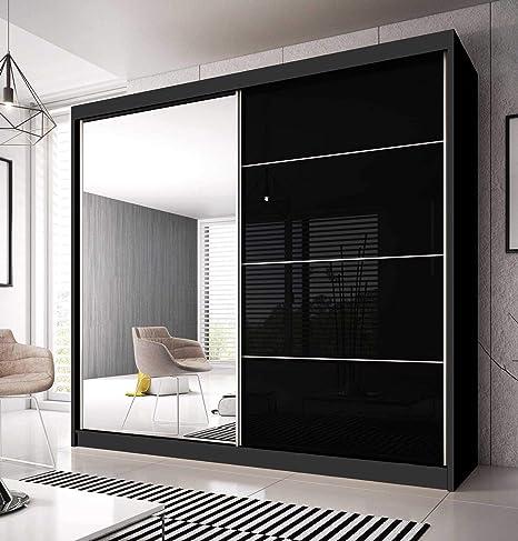 CHECO HOME AND GARDEN - Armario para Puerta corredera F31 + Lados Negros, Espejo, Elegante, Madera, Negro, 233cm: Amazon.es: Hogar