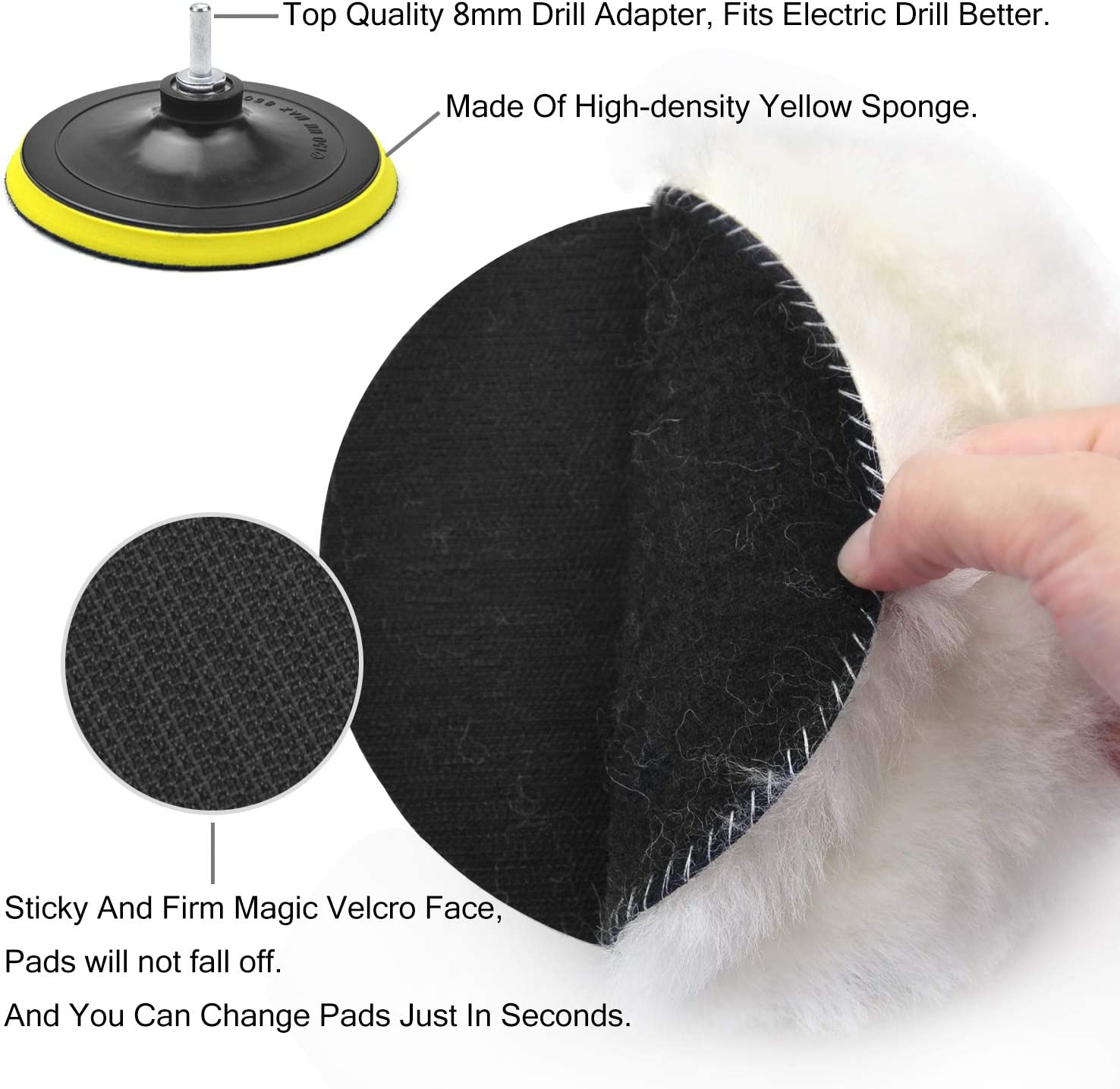 2pcs Soft Sponge Buffing Pads Total 10 Pack 4pcs Woolen Waxing Wheels 2pcs Car Polishing Bonnets with M14 Drill Adapter POLIWELL 6 Inch Wool Polishing Pad Kit