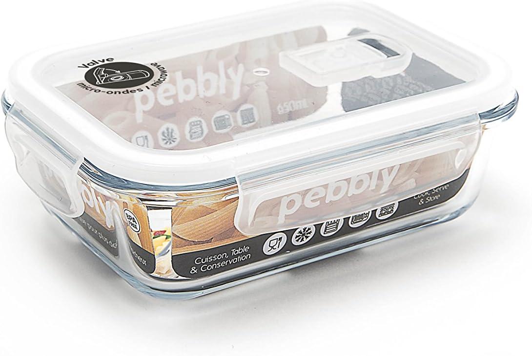 Pebbly pkv-400rb flach//Box rechteckig aus Glas 400/ml Glas transparent 15,3/x 11,2/x 5,7/cm