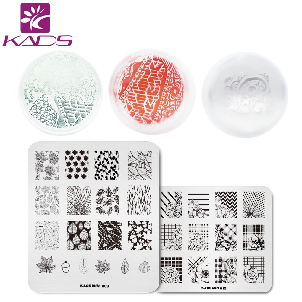 KADS 2pcs Nail Art Stamping Plates with Flower& Leaf Pattern Design and Pure Clear Silicone Stamper Scraper Tools KADS Co. Ltd