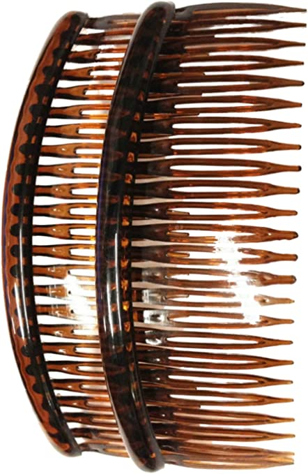"""4.7/"""" Pair of Large Plain Tort Hair Combs Slides Grips Clips 12cm"""
