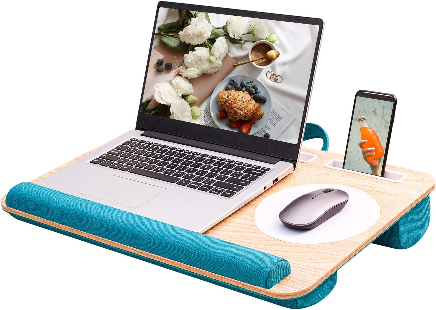Rentliv Home Office Lap Desk - Fits up to 17 Inch Laptop Desk, Built-in Mouse Pad &Wrist Pad for Notebook, MacBook, Laptop Stand with Tablet, Pen & Phone Holder -Green