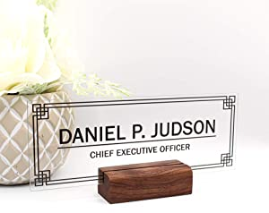 Personalized Desk nameplate Desk Decor Men Office Acrylic Holder Office Supply Acrylic Sign Coworker Gift Teacher Secretary - Men Wood Holder (8