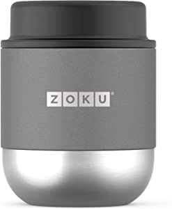 Zoku Neat Stack Food Jar, 10 Ounce Stainless Steel Canister, Double-walled, Vacuum Insulated Travel Thermos, Silver