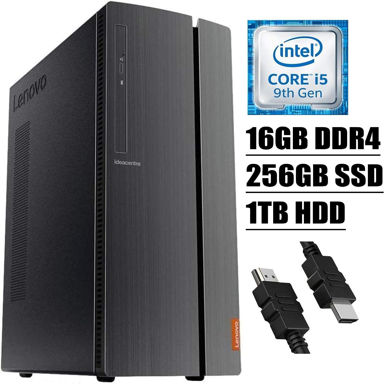 2020 Flagship Lenovo IdeaCentre 510A Desktop Computer 9th Gen Intel Hexa-Core i5-9400 (Beats i7-7700) 16GB DDR4 256GB SSD 1TB HDD WiFi DVD HDMI Keyboard and Mouse Win 10 + iCarp HDMI Cable