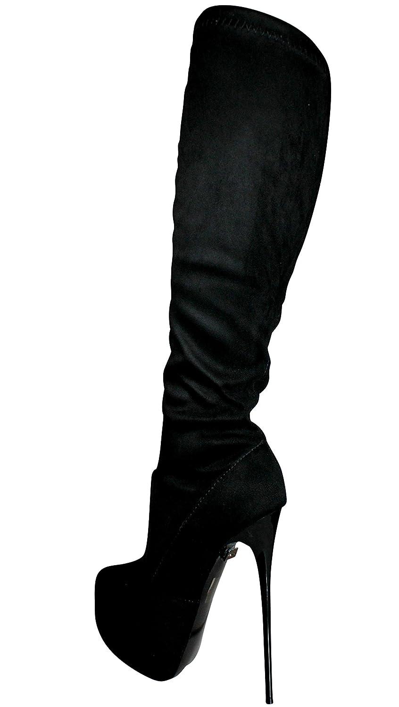 SamMoSon Stivali sopra Il Ginocchio in Pelle Scamosciata da