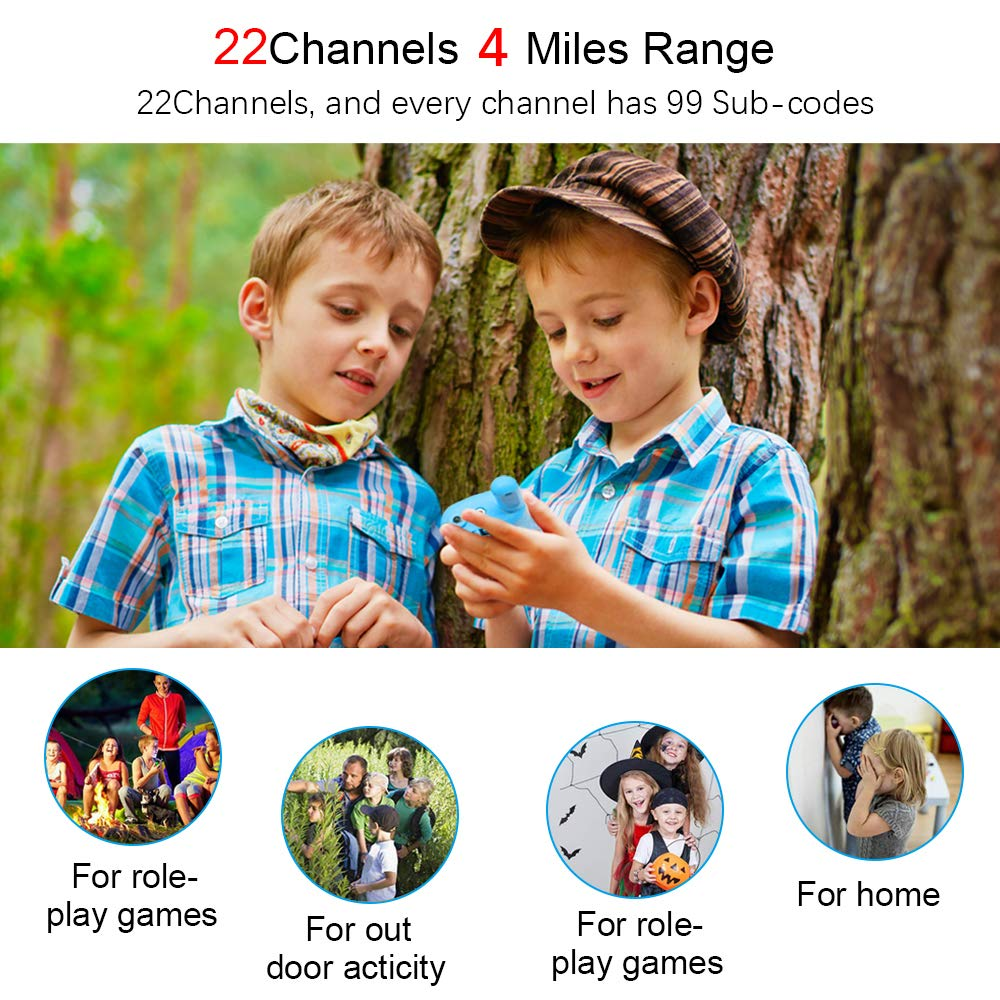 Walkie talkies for Kids - 4-Mile Range Kids walkie talkies with 22 FRS/GMRS Channels, Childrens Toys with BPA-Free ABS eco-Friendly Materials, Great Gift for 3-12 Year Old Boys and Girls,Teen Gift by weird tails (Image #5)