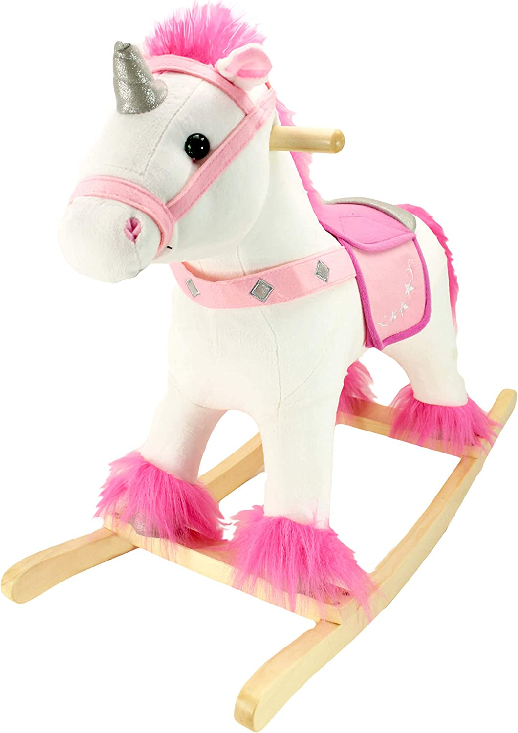 Animal Adventure Real Wood Ride-On Plush Rocker White and Pink Unicorn Perfect for Ages 3