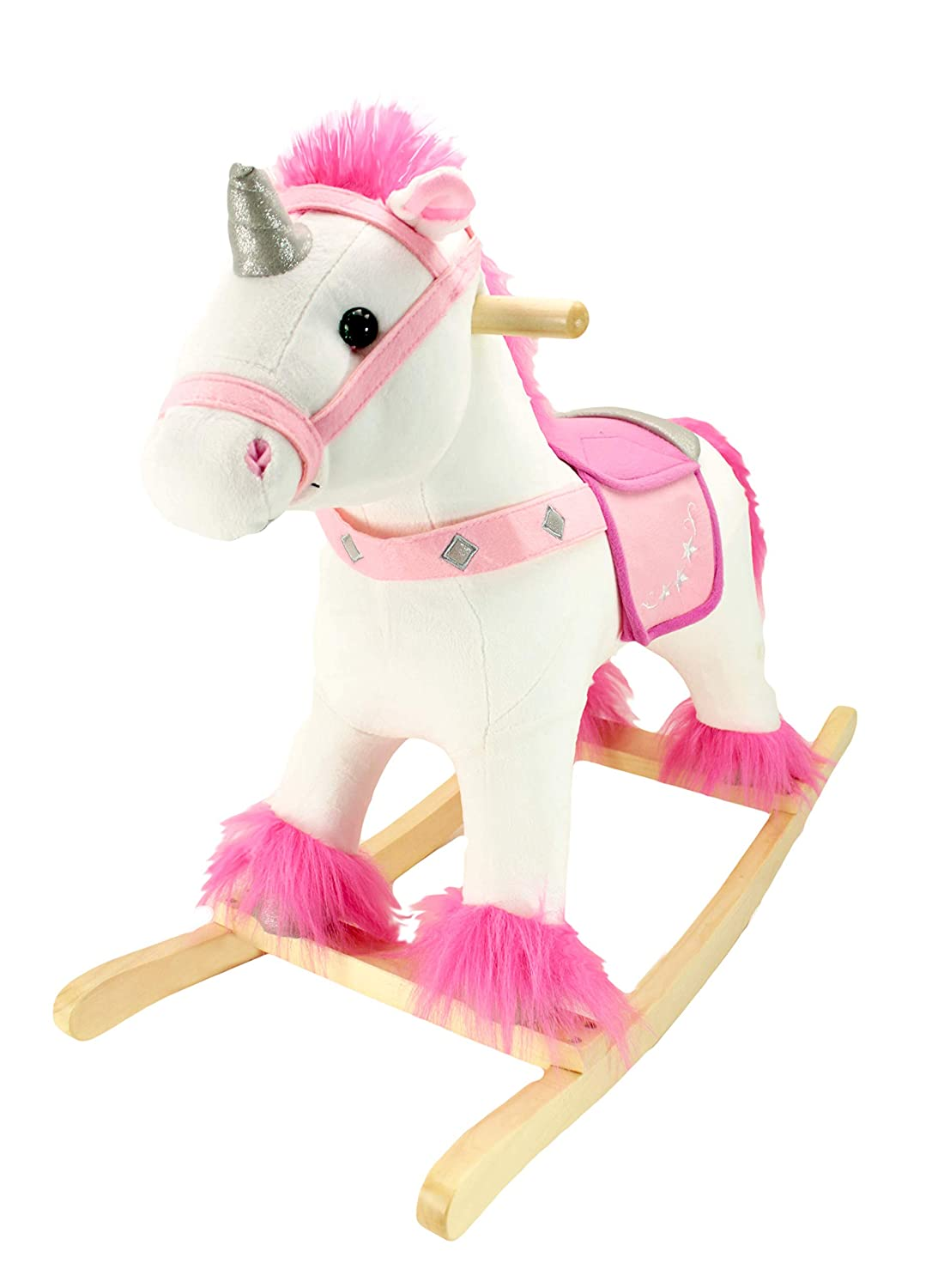 Animal Adventure | Real Wood Ride-On Plush Rocker | White and Pink Unicorn | Perfect for Ages 3+