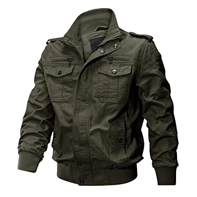 6cae7cc3e09b9 CRYSULLY Men s Fall Jackets Multi Pocket Tactical Cotton Safari Jacket  Casual Cargo Jacket Army Green