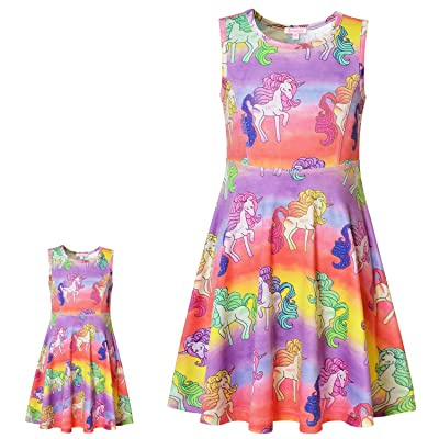"Matching Girls & Doll Dresses Sleeveless Unicorn Outfits Clothes Fits 18"" Dolls: Clothing"