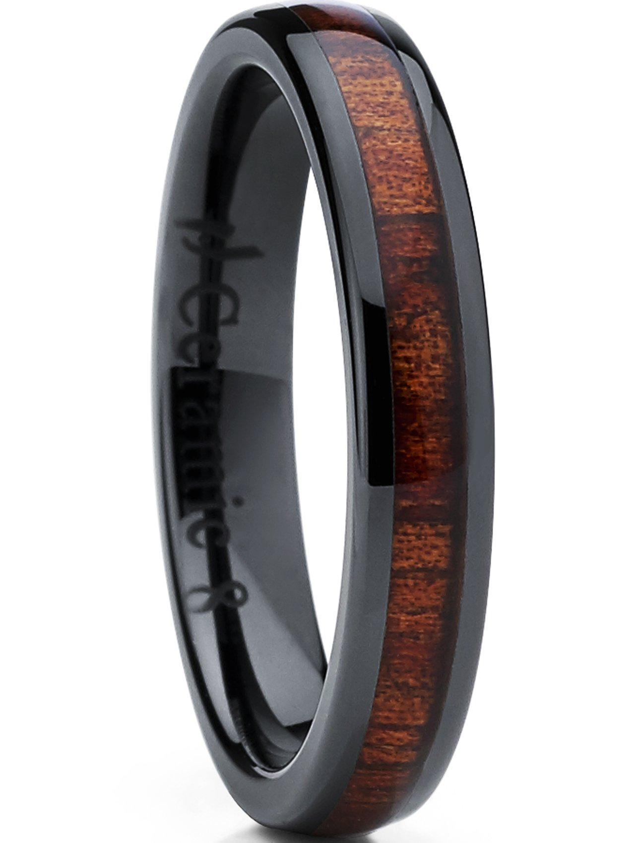 Metal Masters Co. Womens Black Ceramic Dome Wedding Band Ring with Real Koa Wood Inlay 4mm, Comfort Fit SZ 6.5
