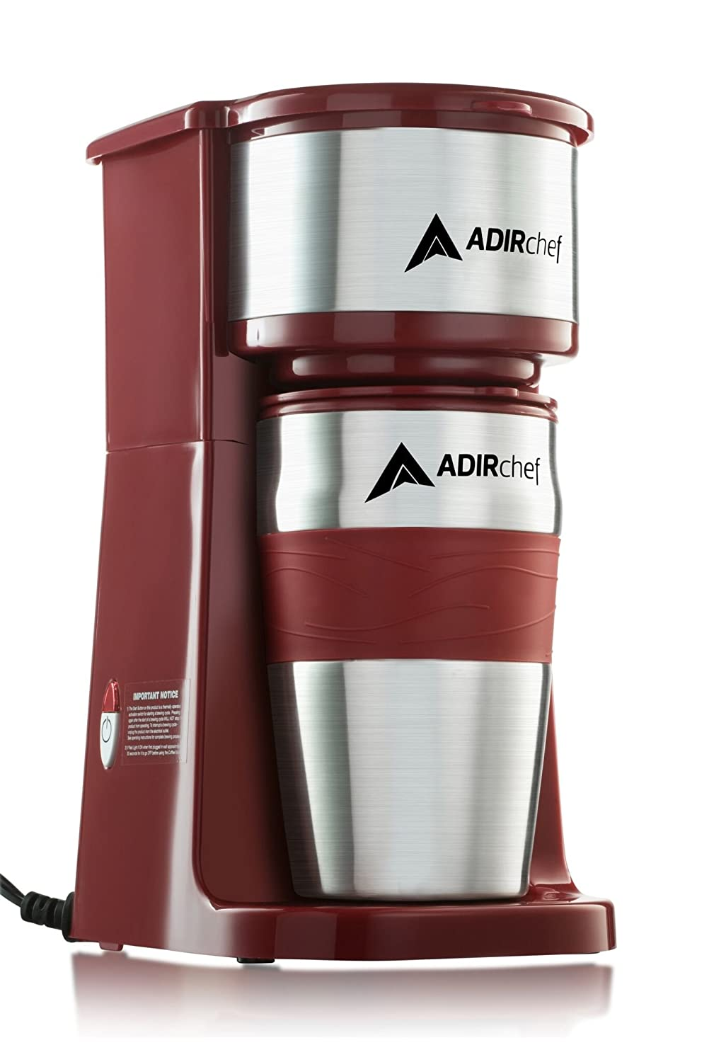 AdirChef Grab N' Go Personal Coffee Maker with 15 oz. Travel Mug (Ruby Red)