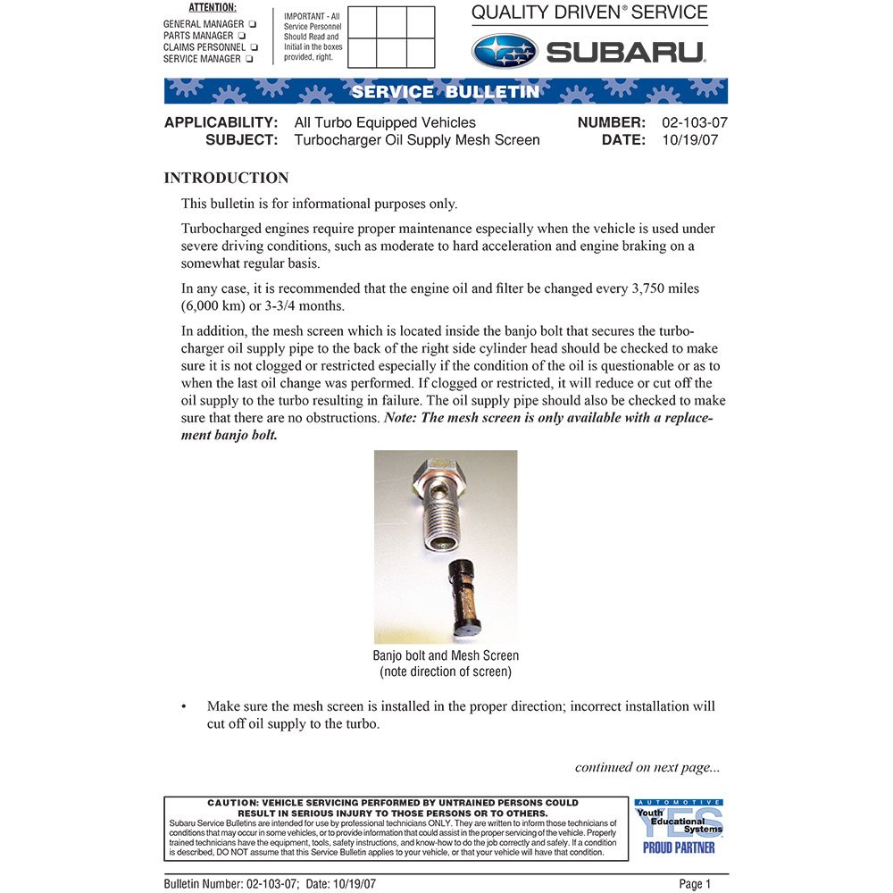 Amazon.com: Turbo Turbocharger w/Banjo Bolt For Subaru Legacy 2.5GT & Outback XT 2005 2006 - BuyAutoParts 40-30098AN New: Automotive
