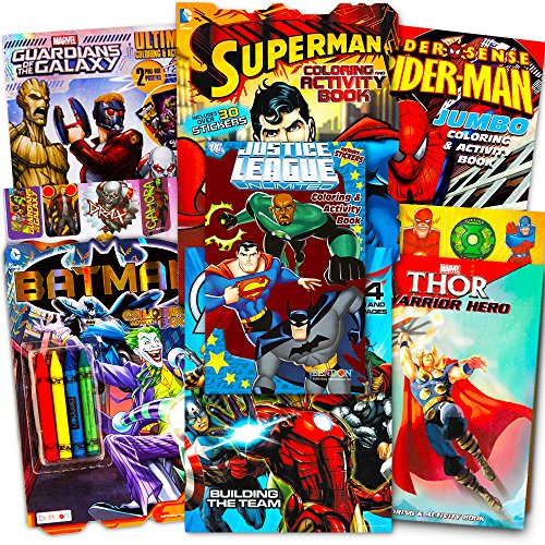 Superhero Giant Coloring Book Assortment ~ 7 Books Featuring Avengers, Justice League, Batman, Spiderman and More (Includes (Super Coloring Book)