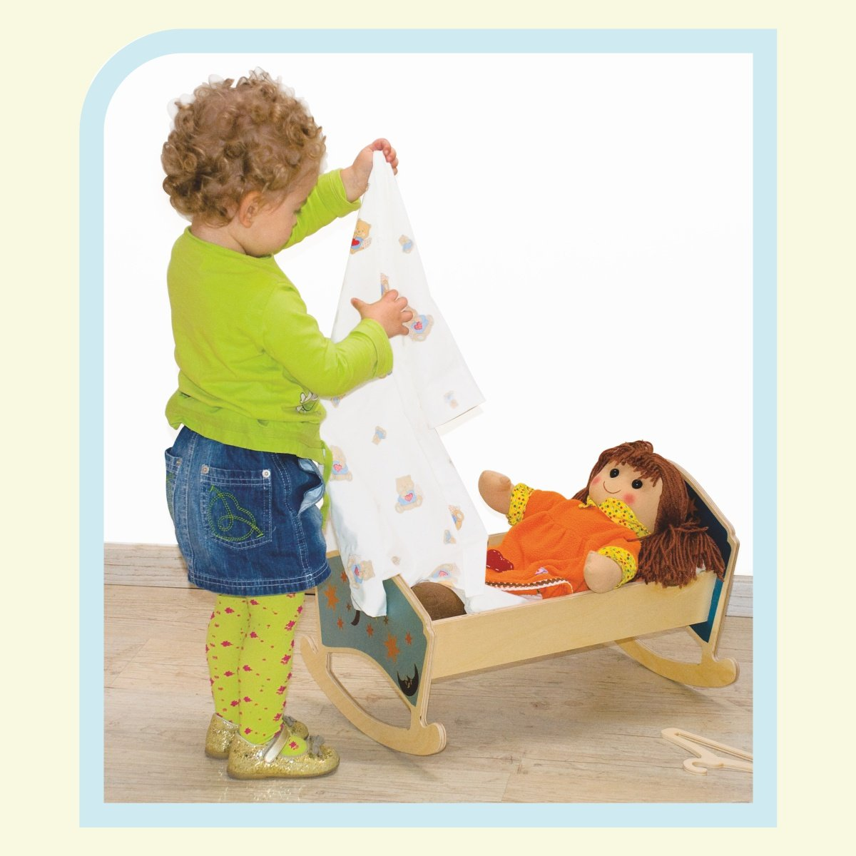 Dida - Culla a dondolo in legno per bambole con materassino + lenzuolino - decoro  Luna