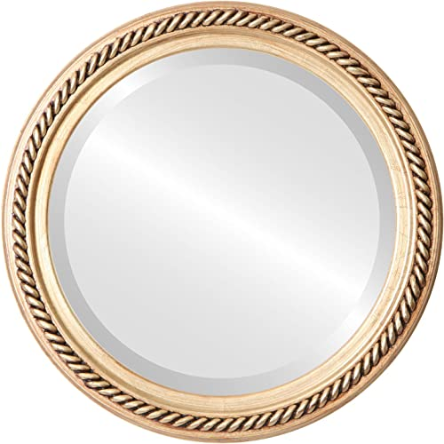 Round Beveled Wall Mirror for Home Decor – Santa Fe Style – Gold Leaf – 32×32 Outside Dimensions
