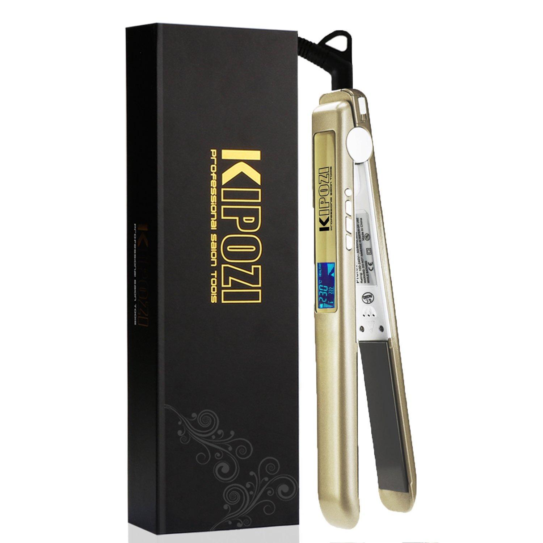 KIPOZI Pro Hair Straighteners UK 230 Digital LCD Titanium Anti Frizz Hair Styler Dual Voltage Auto Off,Golden product image