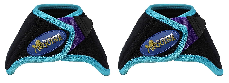 Horse Medium Professional Equine Sports Bell Boots Turquoise Black Purple 4113F