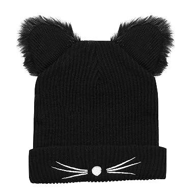 TiaoBug Fille Femme Bonnet en Tricot Chapeau Chat Oreilles Bonnet Crochet  Noir Bonnet Chaud Automne Hiver eaa774ed750