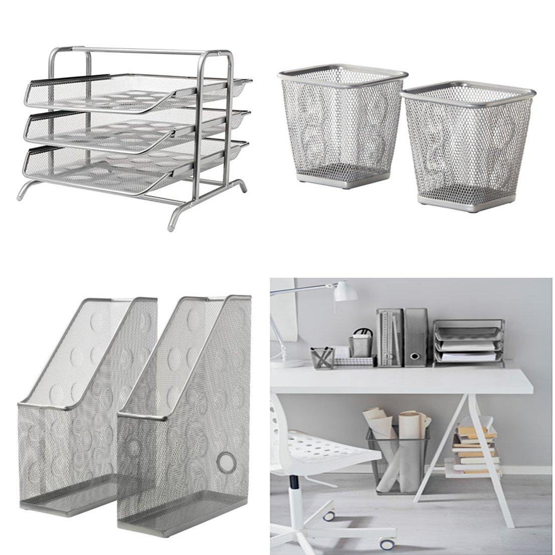 IKEA oficina/casa escritorio - 1 x carta bandeja DOKUMENT (plata), 2 x lápiz Copa DOKUMENT (plata), 2 x revista Archivo DOKUMENT (plata): Amazon.es: Oficina ...