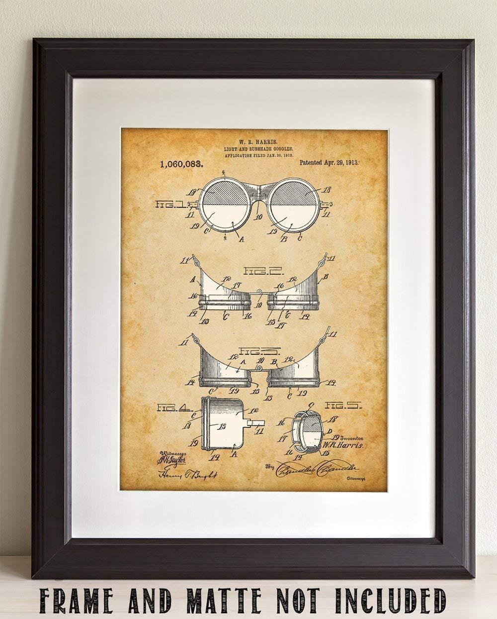 Steampunk Goggles Art Print 11x14 Unframed Patent Print Great Gift