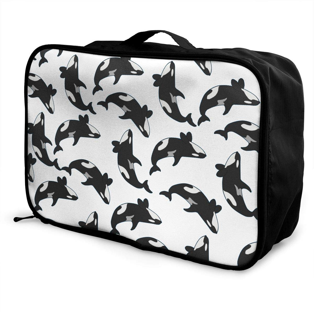 YueLJB Killer Whale Orcas Lightweight Large Capacity Portable Luggage Bag Travel Duffel Bag Storage Carry Luggage Duffle Tote Bag