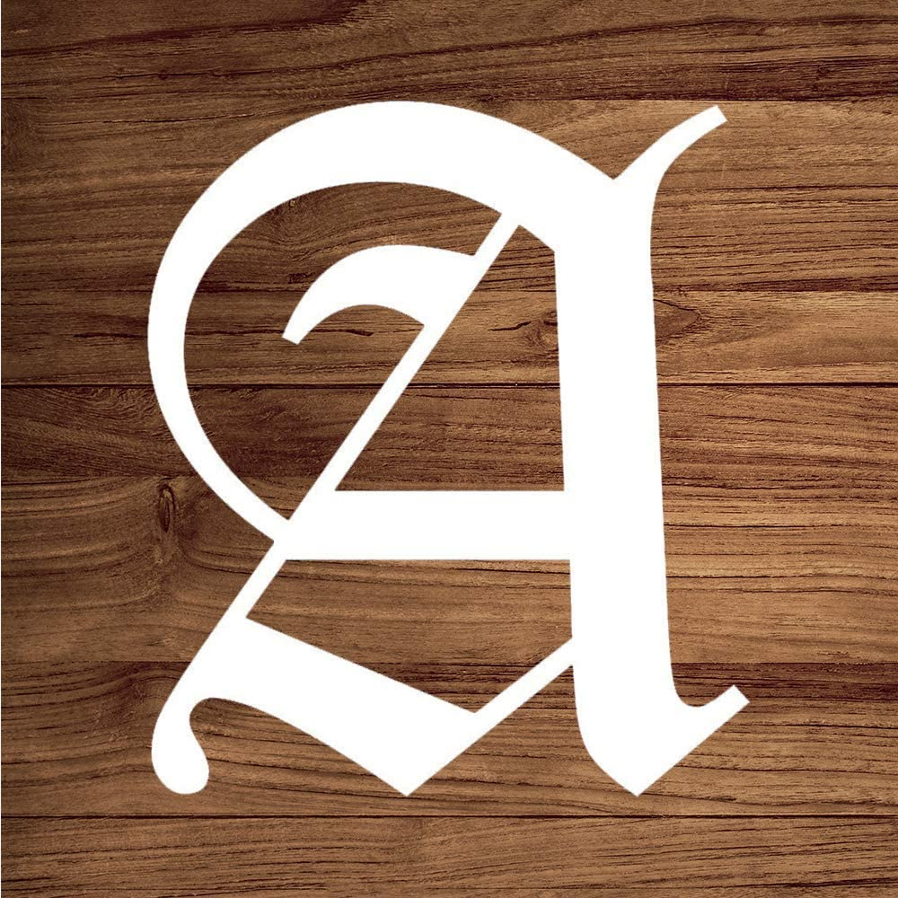 None Brand Old English Letter A Initial Vinyl Sticker Graphic Bumper Tumbler Decal for Vehicles Car Truck Windows Laptop MacBook Phone Wall Door
