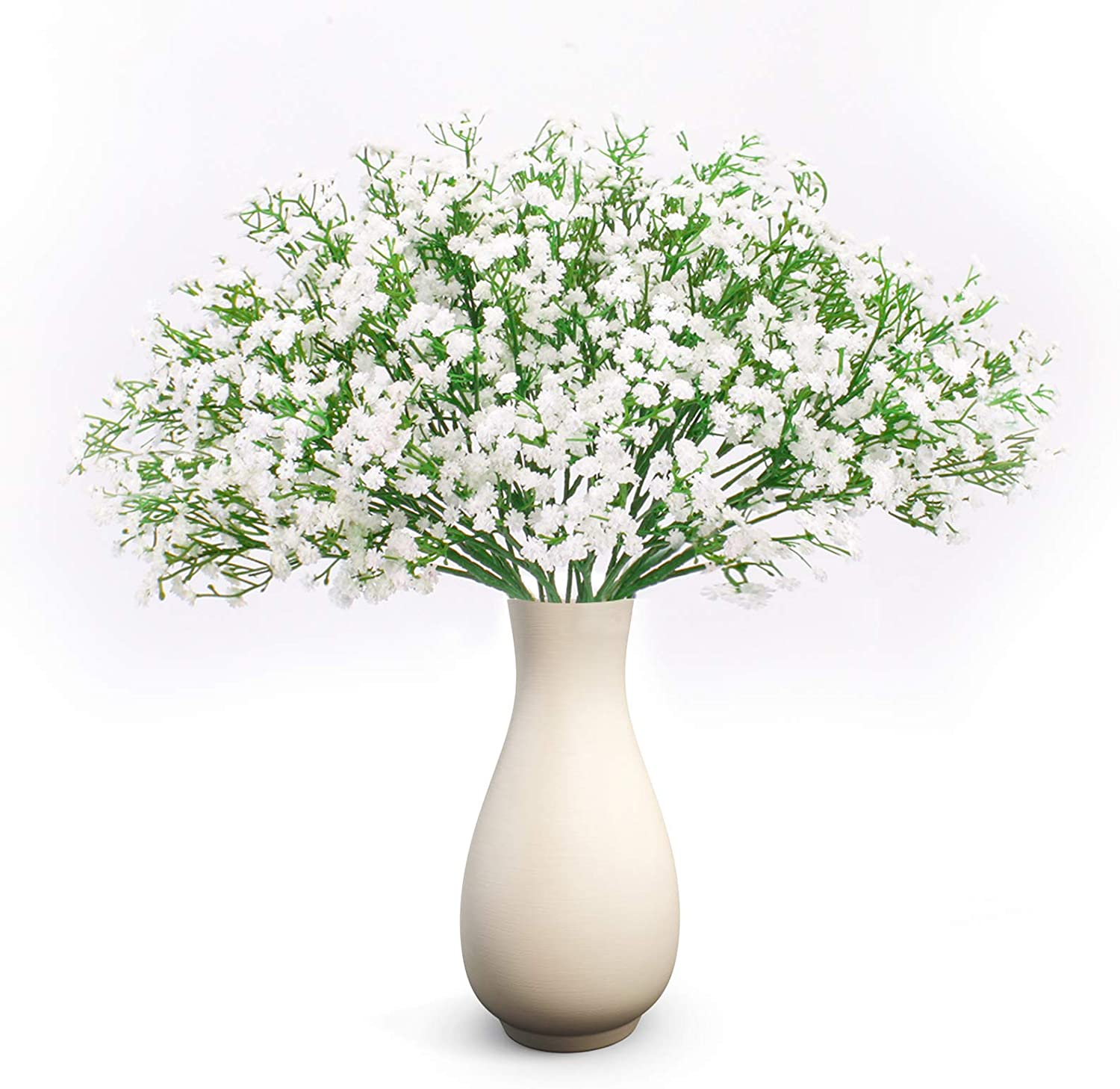"Hantajanss 24 pcs Baby Breath Gypsophila Artificial Flowers Bouquets Fake Real Touch Flowers for Wedding Party Decoration DIY Home Decor 21"" White"