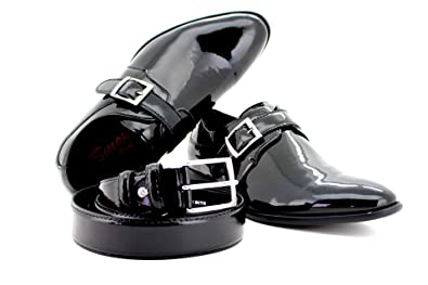 Smokies Eddie Smoking Chaussures Homme avec ceinture en cuir mariage  Chaussures NOIR VERNIS cuir doublure - ccc77751c5f