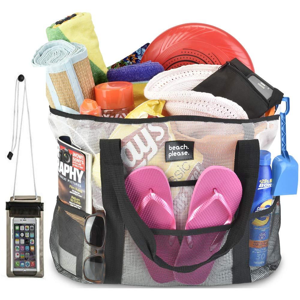 XL Heavy Duty Mesh Beach Bag & Free Phone Case-Toy Tote,Laundry Bag, Picnic Tote