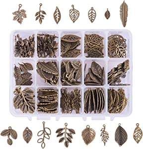 PH PandaHall 150pcs 15 Styles Tibetan Tree Leaf Charms Pendants, Branch Leaves Charms Beads for DIY Earring Bracelet Necklace Jewelry Making, Antique Bronze