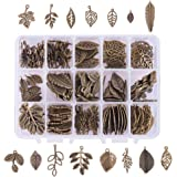 PH PandaHall 150 PCS 15 Tree Leaf Style Antique Bronze Tibetan Alloy Charms Finding Pendants Beads Charms for DIY Jewelry Making