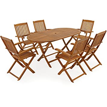 Salon de jardin Boston 1 Table et 6 Chaises - en bois d\'acacia ...