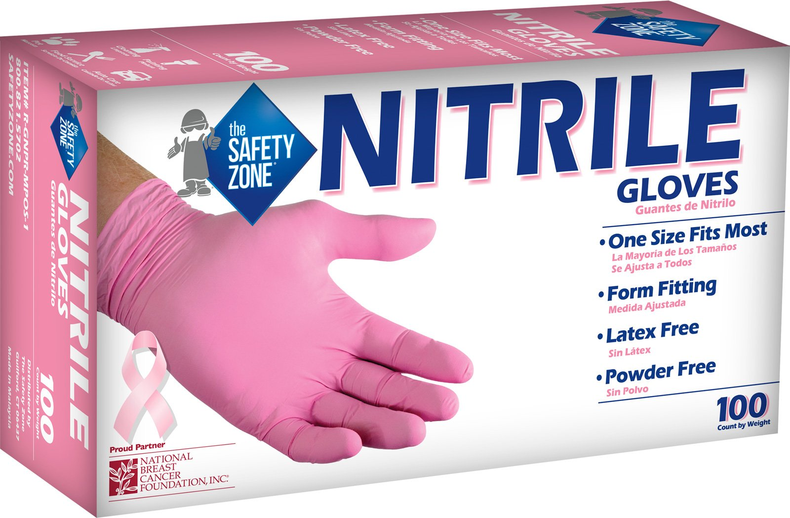 The Safety Zone R-GNPR-MPOS-1 Nitrile-Rubber, Pink (Pack of 1000)
