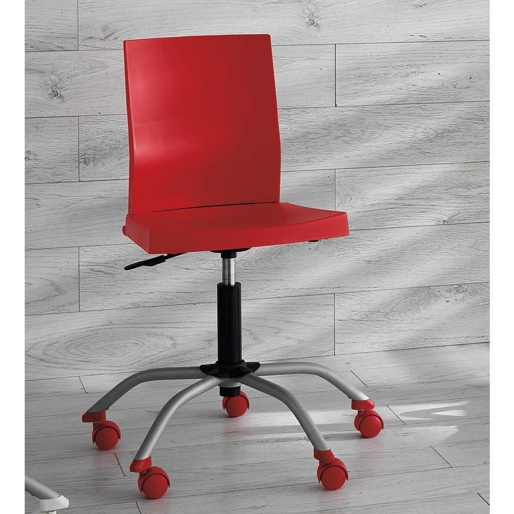 Pharao24 Schreibtisch Drehstuhl in Rot höhenverstellbar