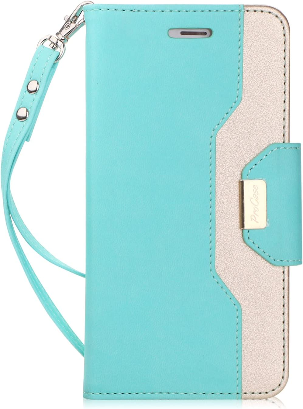 ProCase iPhone 8 Plus/7 Plus Wallet Case, Flip Fold Card Case Stylish Slim Stand Cover with Wallet Case for Apple iPhone 8 Plus/iPhone 7 Plus -MintGreen