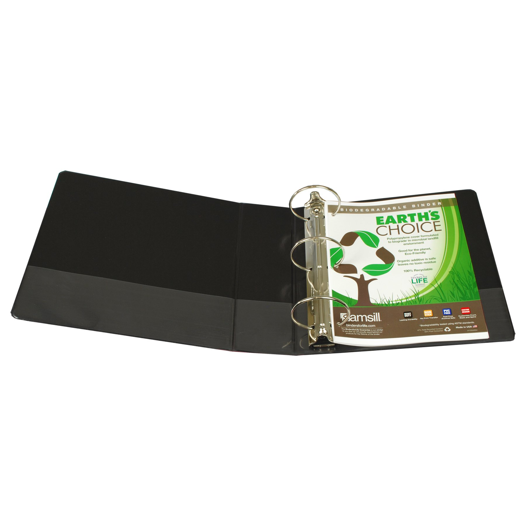 Samsill Earth's Choice Biobased View Binder, 3 Ring Binder, 4 Inch, Round Ring, Customizable, Black by Samsill (Image #2)
