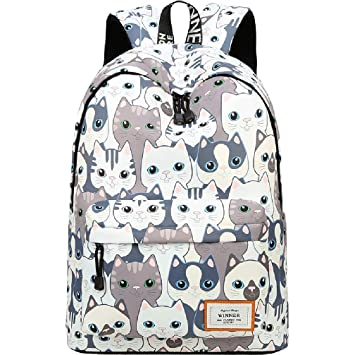 Amazon.com   Shipe School Bookbags for Teens, Girls Laptop Bag Floral  Backpack College Bags young people Daypack (Cute Cat)   Kids  Backpacks 4ed11e32b2