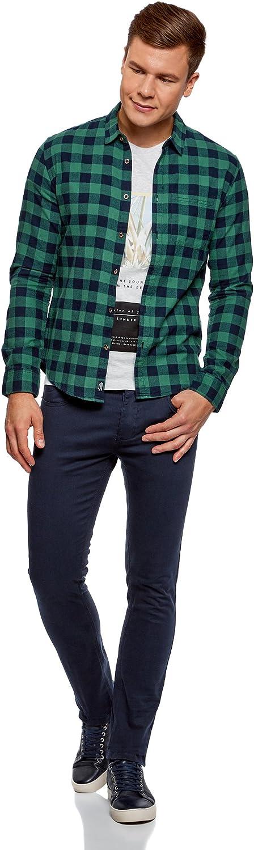 oodji Ultra Hombre Camisa de Algod/ón a Cuadros