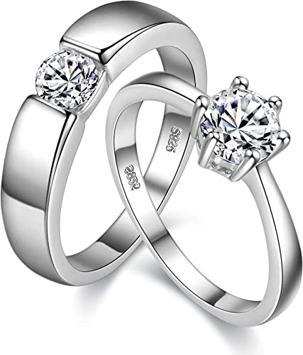 Uloveido Silver Color Couples Love Heart Cubic Zirconia Wedding