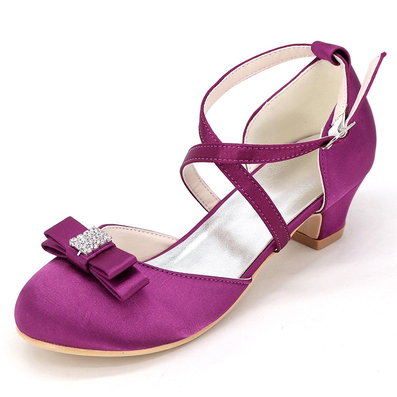 Elobaby KT2586 Zapatos De Boda Chica SatéN Plataforma De Gatito Lady Chunky Pumps White Ivory New High Heels/3.5cm De TacóN 28 EU|Purple