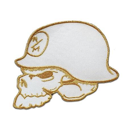 calavera con casco de acero Army Parches blanco 11.2x8.5cm bordados