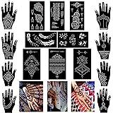 Xmasir Pack of 16 Sheets Henna Tattoo Stencil / Templates Temporary Tattoo Kit,Indian Arabian Self Adhesive Tattoo Sticker fo