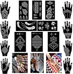 Xmasir Pack of 16 Sheets Henna Tattoo Stencil / Templates Temporary
