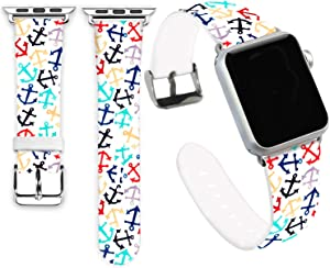 Anchor Bands Compatible for iWatch 42mm 44mm,Jolook Soft Leather Sport Style Replacement Band Strap Compatible with Apple Watch 44mm 42mm Series 6/5/4/3/2/1 - Colorful Anchors