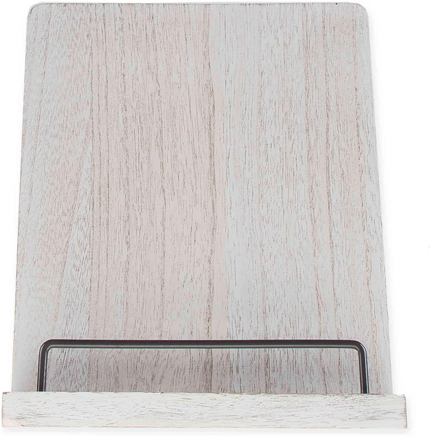 Home Wood Cookbook Holder in White Wash | For tablet computers and cookbooks